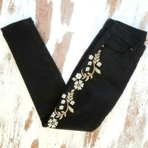 Driftwood Jackie Black Floral Embroidered Jeans 27